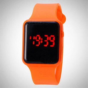 V5 Brand Unisex Rubber LED Date Sports Bracelet Digital Wrist Watch - ORANGE