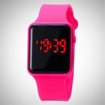 V5 Brand Unisex Rubber LED Date Sports Bracelet Digital Wrist Watch - ROSE RED