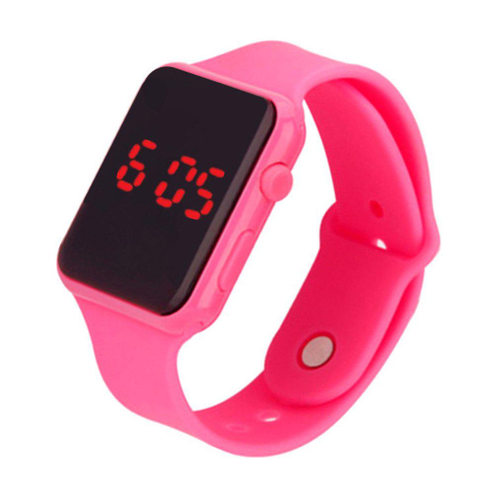 V5 Brand Unisex Rubber LED Date Sports Bracelet Digital Wrist Watch - PINK