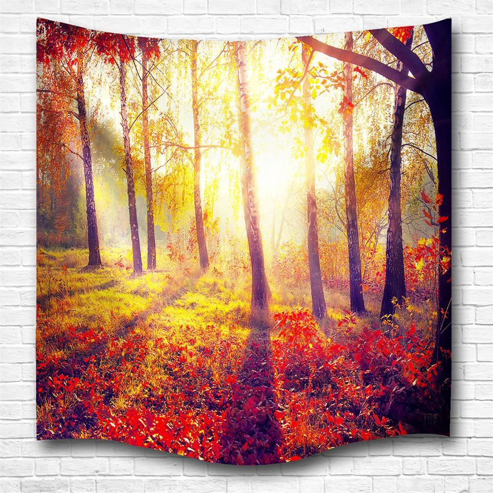 Morning Woods 3D Digital Printing Home Wall Hanging Nature Art Fabric Tapestry for Bedroom Living Room Decorations - COLORMIX W153CMXL130CM