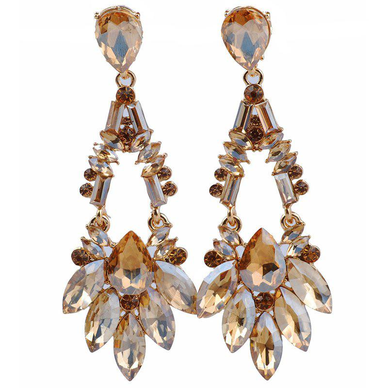 New Natural Crystal  Jewelry Oblate Drop Style Earrings Wedding for Women - GOLDEN