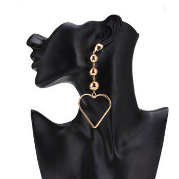 Heart Shaped Large Rose Gold Zinc Alloy Round Circle Hyperbole Earrings Jewelry - GOLDEN