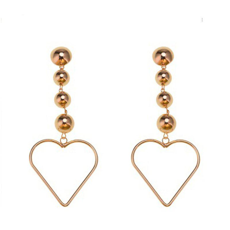 Heart Shaped Large Rose Gold Zinc Alloy Round Circle Hyperbole Earrings Jewelry - GOLD