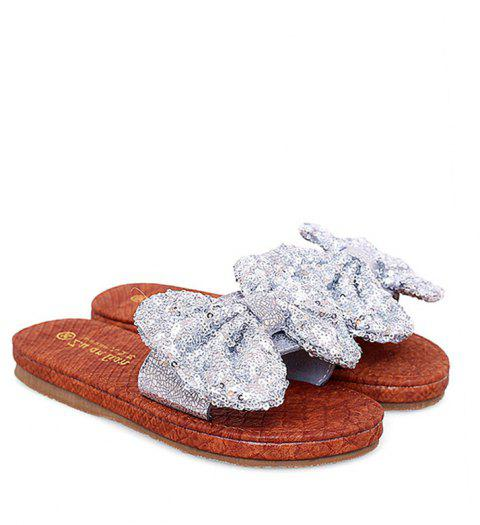 Leather  Casual Beach  Lady Sandals - SILVER 39