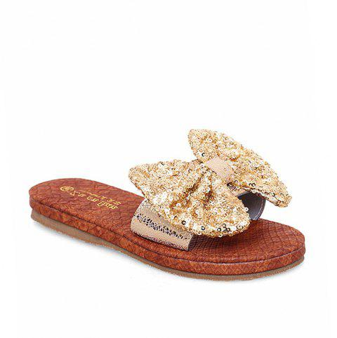 Leather  Casual Beach  Lady Sandals - GOLDEN 40