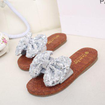 Leather  Casual Beach  Lady Sandals - SILVER 38