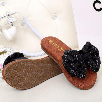 Leather  Casual Beach  Lady Sandals - BLACK 39
