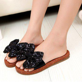 Leather  Casual Beach  Lady Sandals - BLACK 38