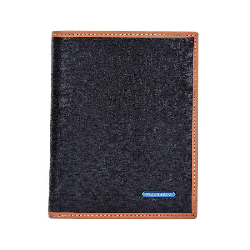 New Men's Short Wallet Casual Fashion Vertical Section Card Package - BLACK