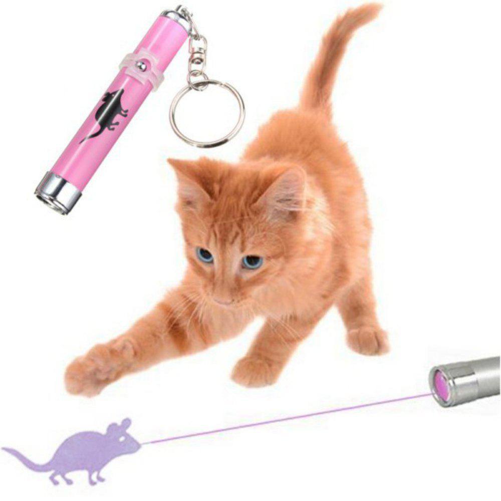 Pet Cat Toys LED Laser Pointer Light Pen With Bright Animation Mouse Shadow - PINK