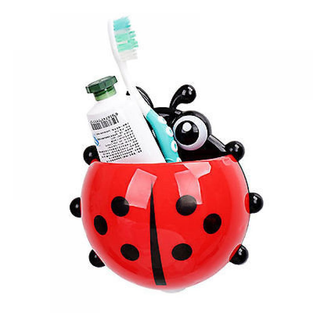 Children's Lovely Cartoon Ladybird Wall Suction Hooks Toothbrush Holder Creative Toothpaste Box Bathroom Sets - RED