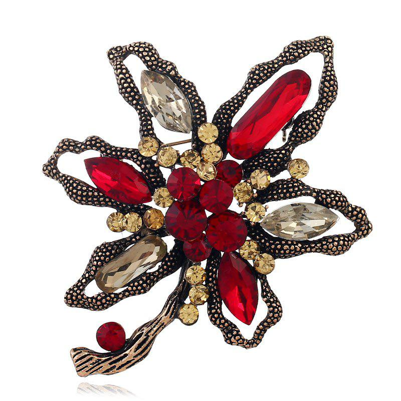 Popular Creativity Abstract with Flower Brooch - RED