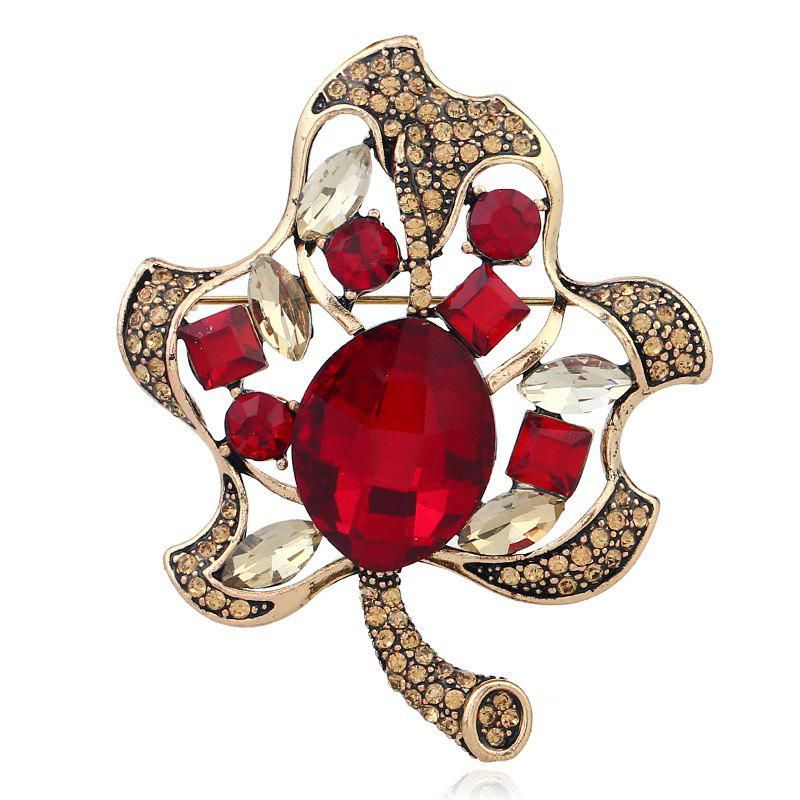 Fashionable Creative High - grade Leaf Brooch - RED