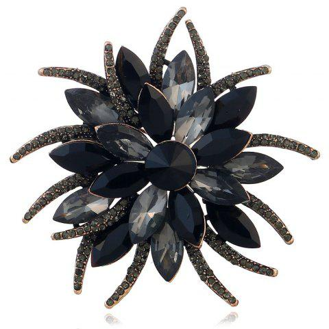 Popular Creative Fashion Antennae Flower Horse Eye Brooch - BLACK