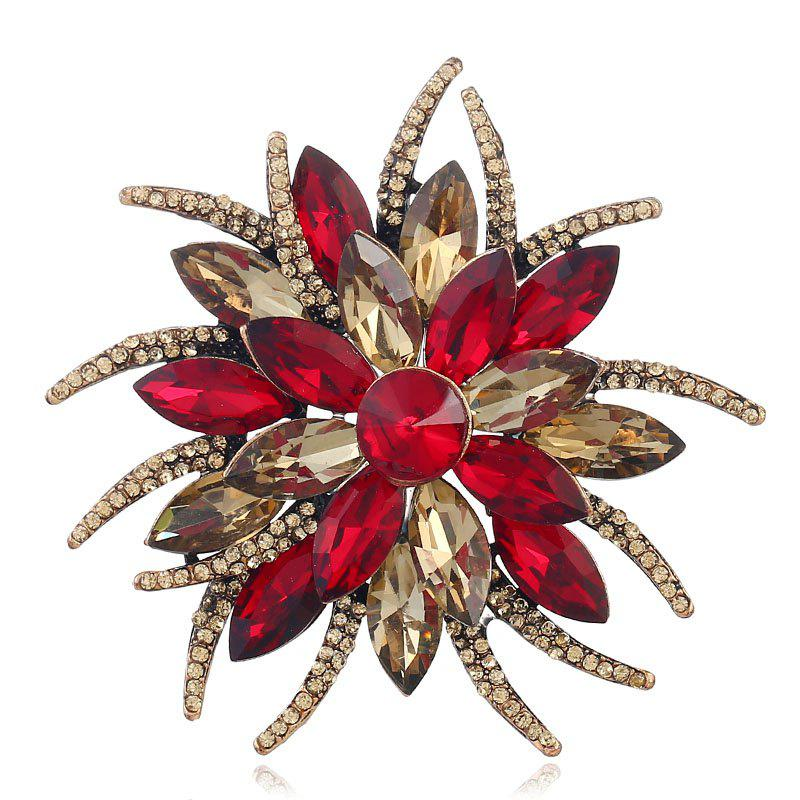 Popular Creative Fashion Antennae Flower Horse Eye Brooch - RED