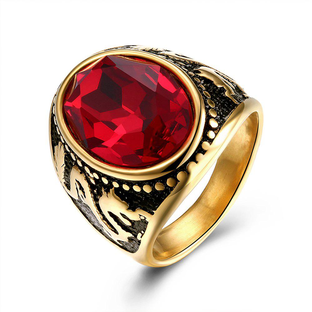 Classic Red Zircon Titanium Steel Men'S Rings - GOLDEN 9