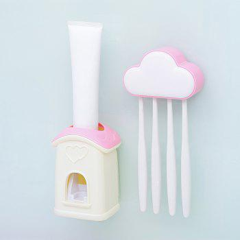 Cloud Cottage Creative Automatic Toothpaste Cartoon Toothbrush Holder Set - PINK 10X6.3X3.8CM