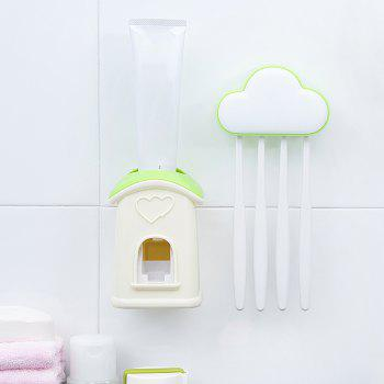 Cloud Cottage Creative Automatic Toothpaste Cartoon Toothbrush Holder Set - GREEN 10X6.3X3.8CM