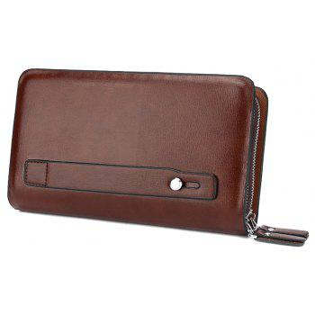 Casual Double Zipper Long Pochette Homme - BRUN