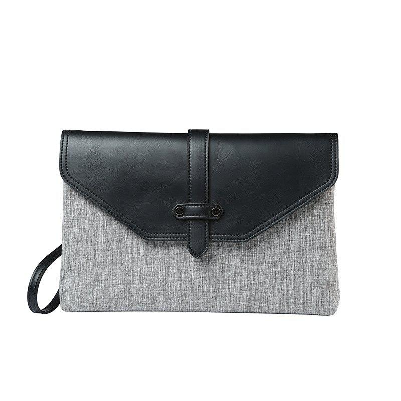 Gray Handbag New Korean Casual Men's Clutch Fashion Wallet Messenger Canvas Leather Contrast Color Pouch - GRAY