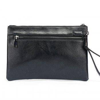 Rhomb Prnting Handbag Black Leather Korean Unisex Party Bag Business Wallet Pouch Clutch with Wristlet - BLACK