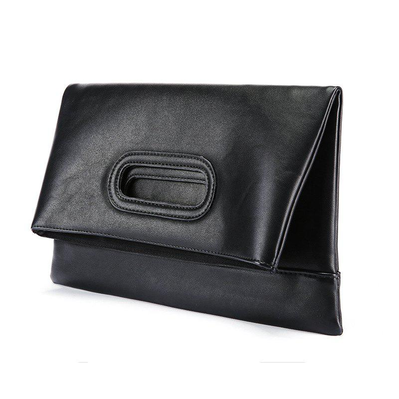 New Folding Handbag Korean Casual Hand Caught Bag Business Messenger Wallet Fashion Pouch - BLACK