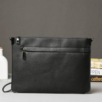 Crazy Horse Leather Men's Clutch Business Casual Korean Handbag Phone Pouch Hand Caught Wallet - BLACK