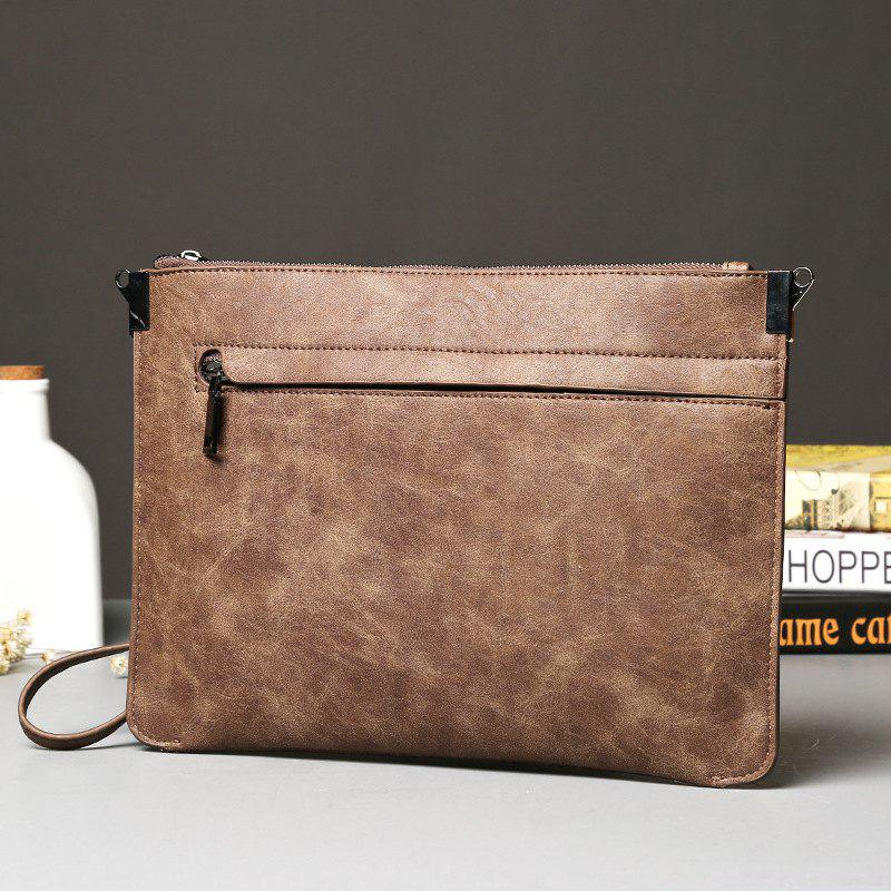 Crazy Horse Leather Men's Clutch Business Casual Korean Handbag Phone Pouch Hand Caught Wallet - MOCHA