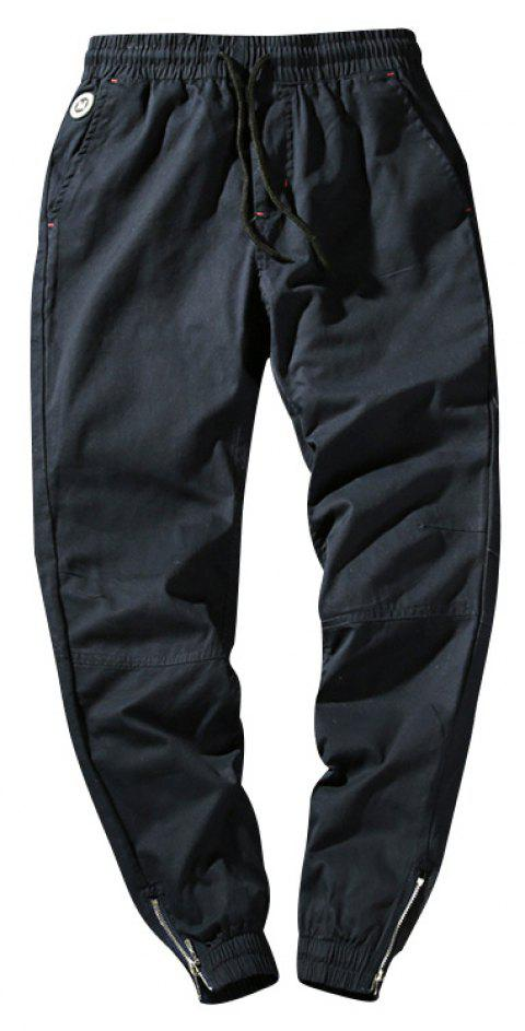 Men's Casual  Zipper Pants - DEEP BLUE 3XL