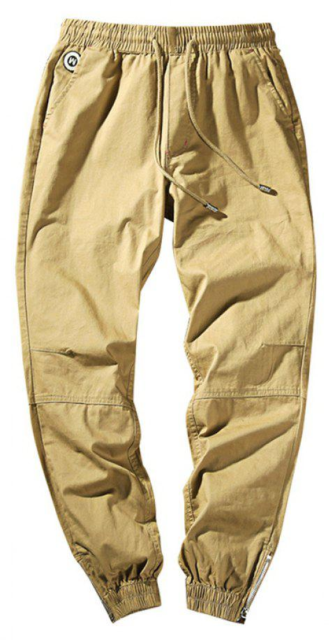 Men's Casual  Zipper Pants - KHAKI 2XL