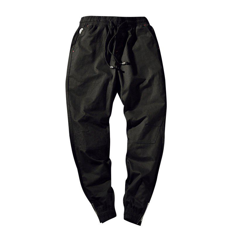 Men's Casual  Zipper Pants - BLACK 4XL