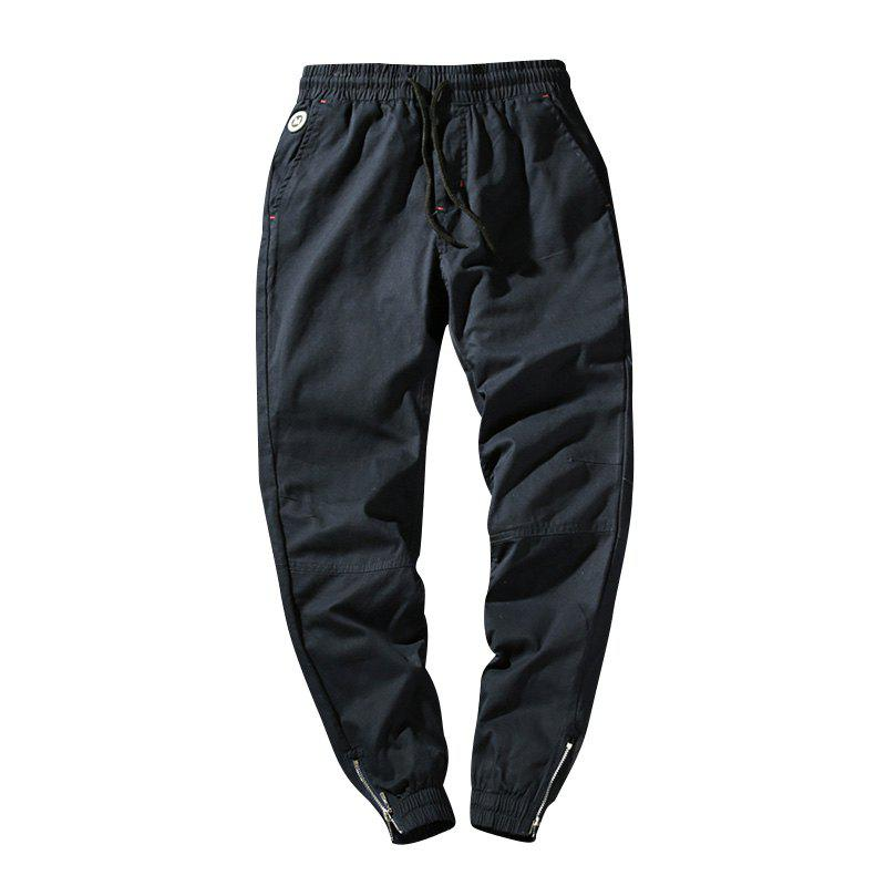 Men's Casual  Zipper Pants - DEEP BLUE L