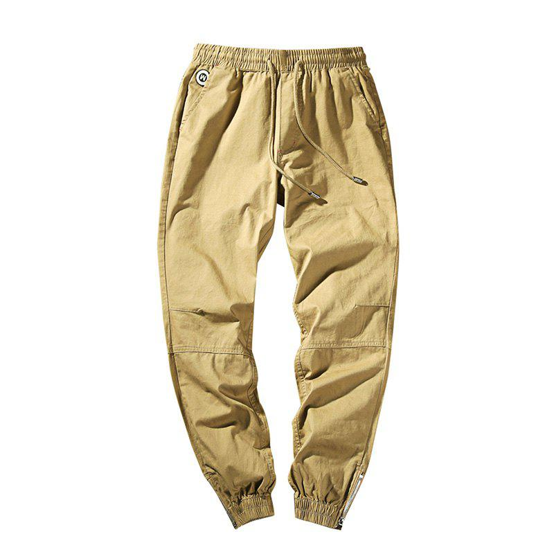 Men's Casual  Zipper Pants - KHAKI M