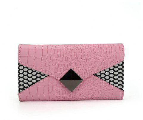Women's Wallet Solid Color Short Pattern Letter Decor Chic Stylish Bag - PINK