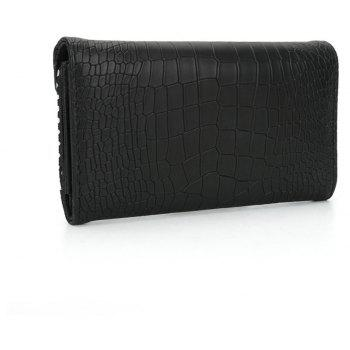 Women's Wallet Solid Color Short Pattern Letter Decor Chic Stylish Bag - BLACK