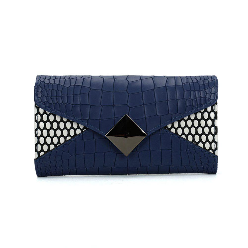 Women's Wallet Solid Color Short Pattern Letter Decor Chic Stylish Bag - BLUE