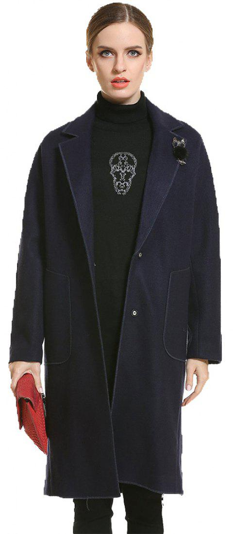 Long Thickening Warm Woolen Coat - BLUE M