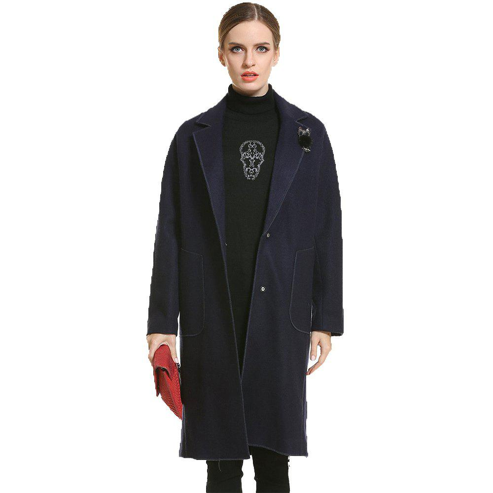 Long Thickening Warm Woolen Coat - BLUE 2XL