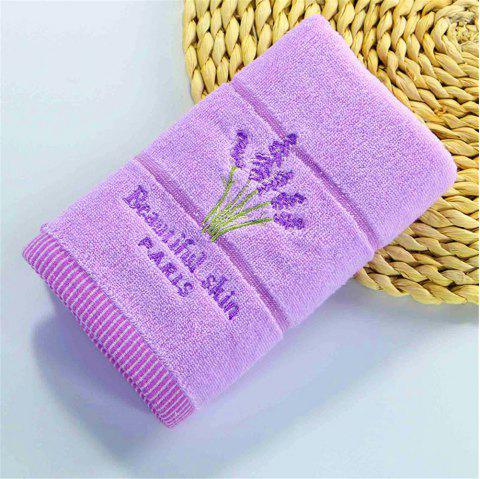 Muchun Weaving Lavender Pattern Soft Nature Cotton Rectangle Shower Bath Towel - PURPLE