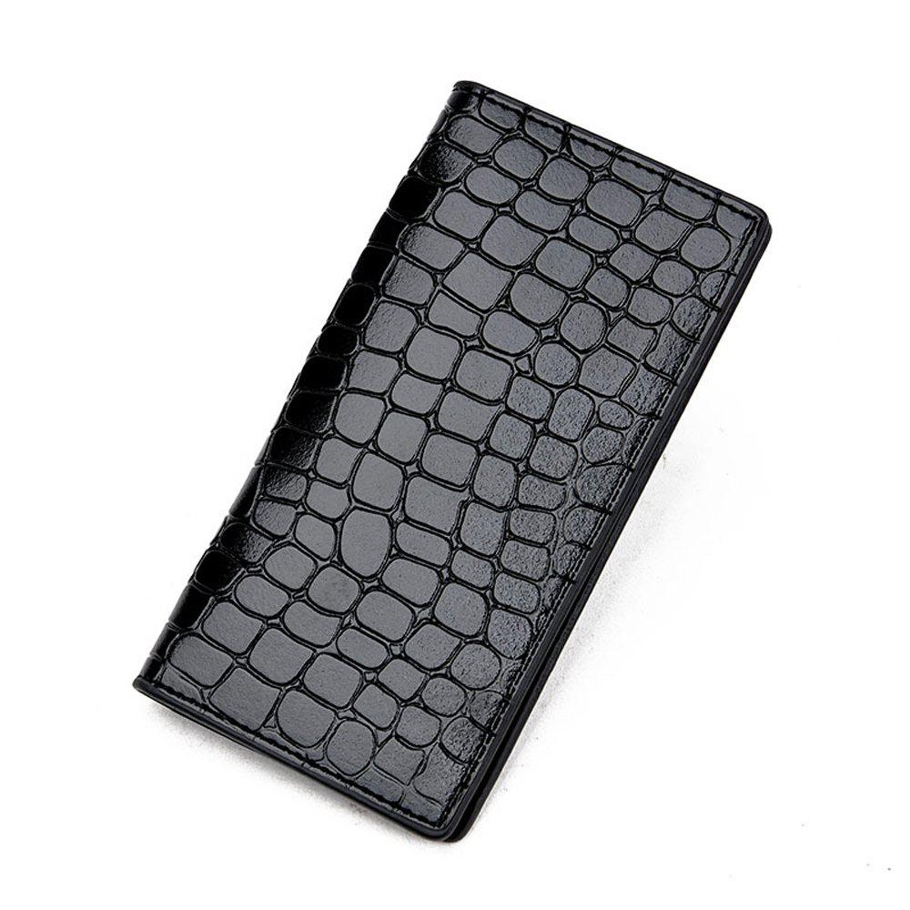 Portefeuille pour hommes Casual Durable Solid Color Long Style Purse - Noir