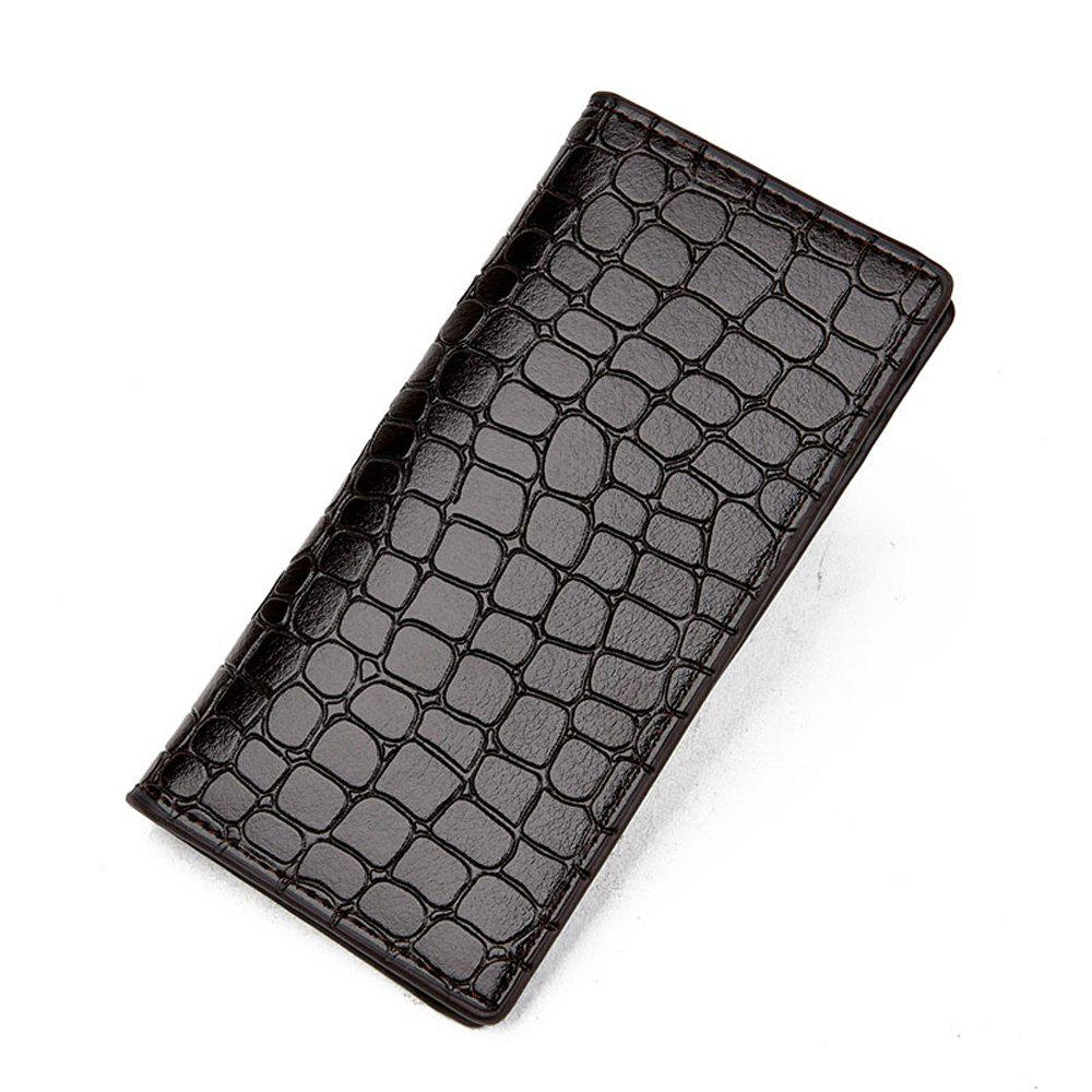 Men's Wallet Casual Durable Solid Color Long Style Purse - LIGHT COFFEE
