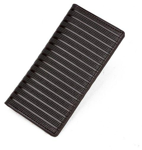 Men's Wallet Striped Solid Color Long Style Fashion Purse - LIGHT COFFEE