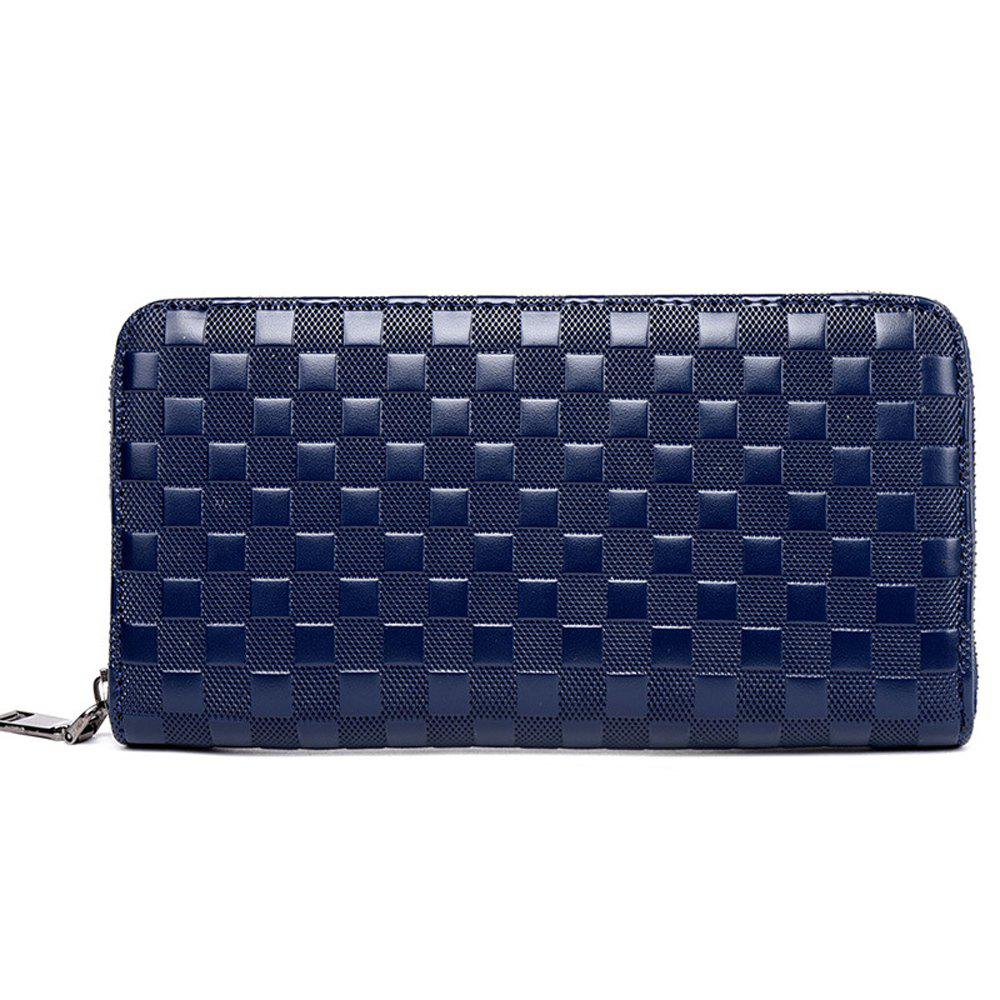Men's Wallet Solid Color Leisure Zipper Design Long Style Clutch Bag - BLUE