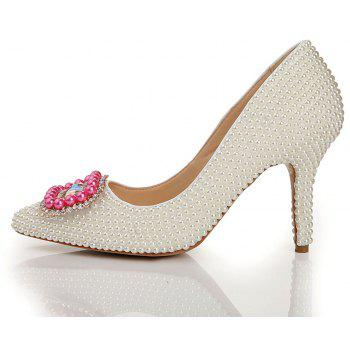 2018 New Fashion Pearl chaussures à talons hauts simples - Blanc Perle 39