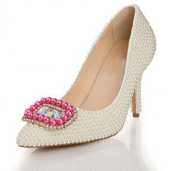 2018 New Fashion Pearl High Heel Single Shoes - PEARL WHITE 37