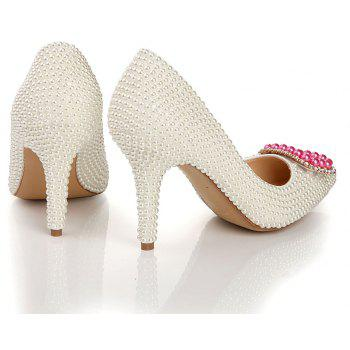 2018 New Fashion Pearl High Heel Single Shoes - PEARL WHITE 35