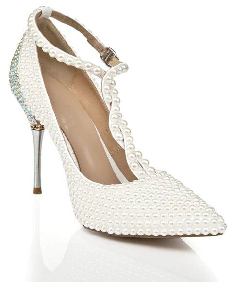 2018 New Pearl Pointed Toe Women High Heels - PEARL WHITE 42