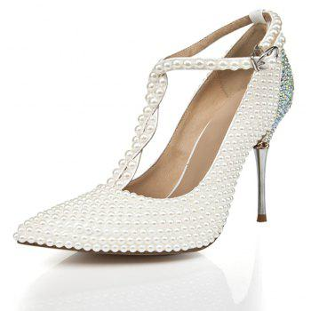 2018 New Pearl Pointed Toe Women High Heels - PEARL WHITE 39
