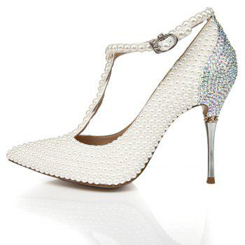 2018 New Pearl Pointed Toe Women High Heels - PEARL WHITE 37