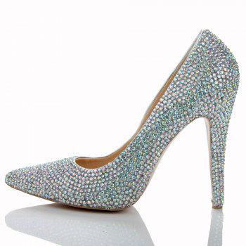 2018 New Colorful Drill Tip Sweet Party High-Heeled Shoes - COLOR 35